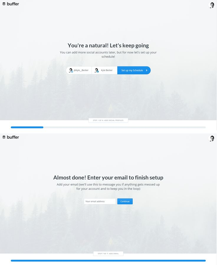 Lots to like about Buffer's set-up: - clean screens, obviously responsive, clear CTA buttons, progress bar at the bottom, doesn't ask for email until last...