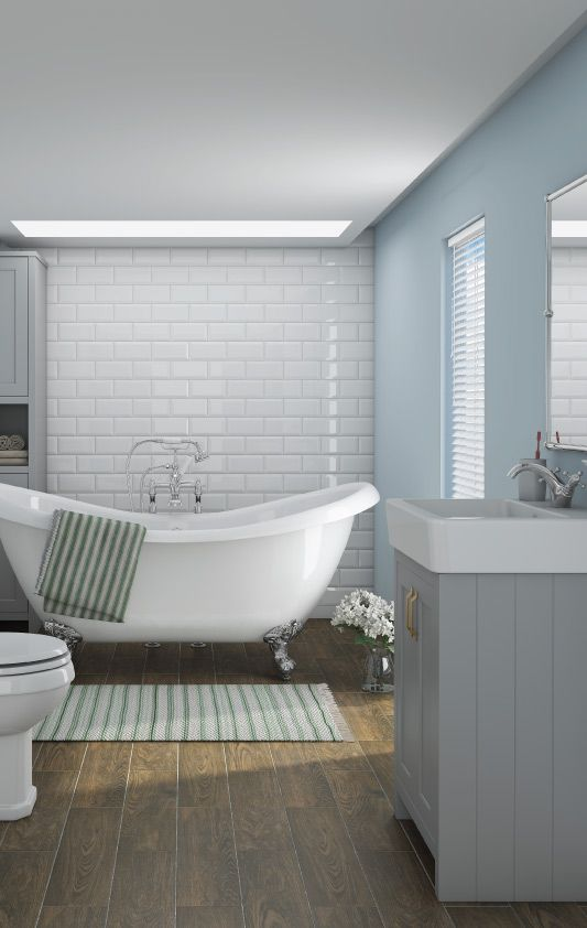 Images Of Why not couple light grey bathroom furniture with a bright pastel colour to achieve a soothing