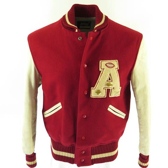 Vintage 60s Varsity Letterman Jacket 42 A Patch Whiting Wool Leather [H58P_2-8]