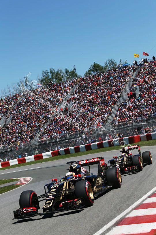 Formula 1 Print - Canadian GP Romain Grosjean FRA Lotus F1 E23 leads team mate Pastor Maldonado (VEN) Lotus F1 E23 Saturday 6th June 2015 Montreal