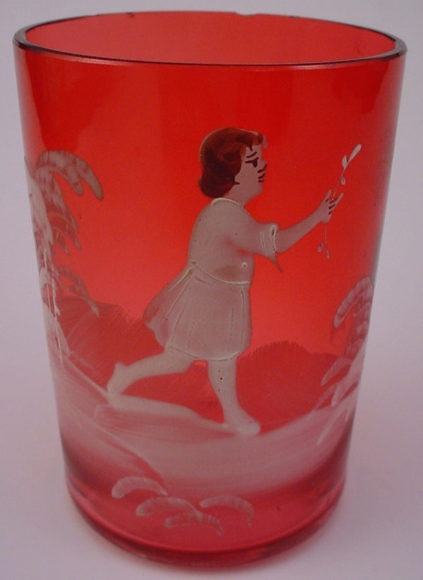 Antique Victorian Mary Gregory type Cranberry Glas