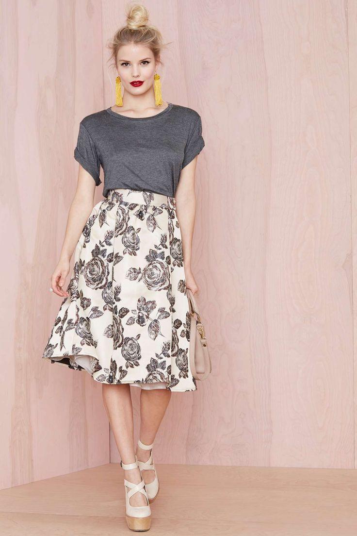 Rose Bud Midi Skirt