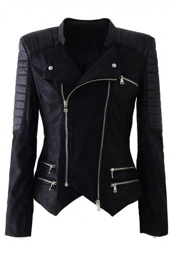 Faux Leather Zip Quilt Motocycle Jacket//