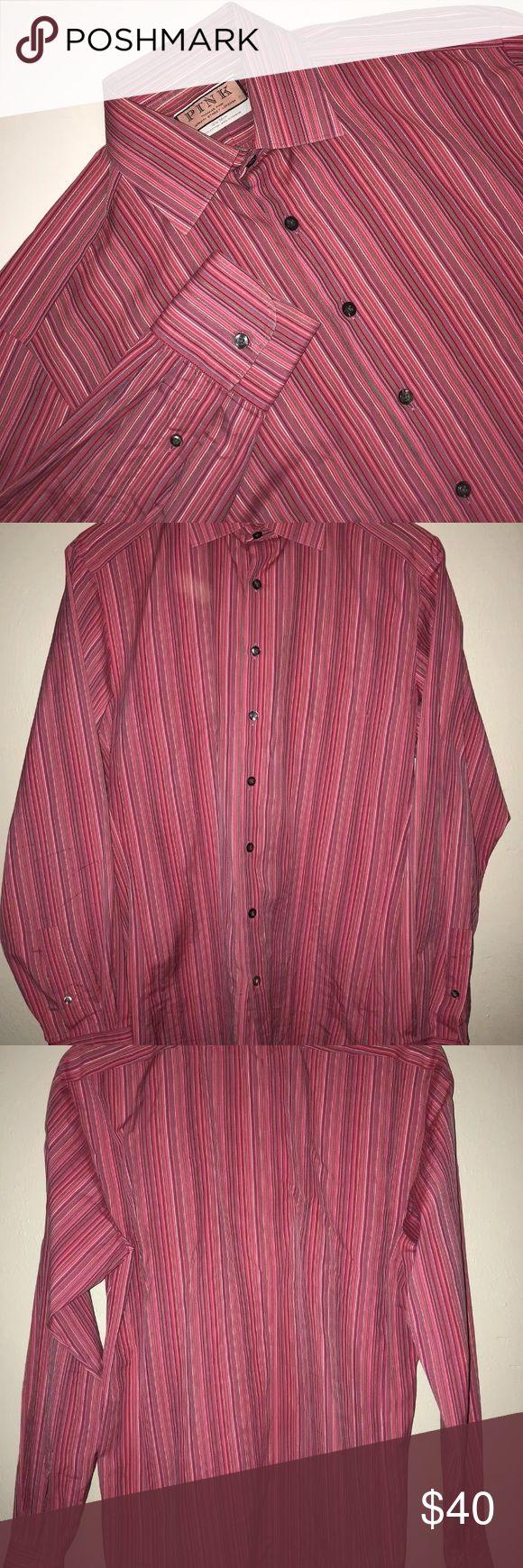 """THOMAS PINK Men's 15 1/2 Prestige Shirt Pink THOMAS PINK Men's 15 1/2 Prestige Shirt Pink Striped French Cuffs  Actual Measurements  Neck 15""""  Arm length 27""""  Chest 40""""  Length 30""""  100% Cotton Thomas Pink Shirts Dress Shirts"""