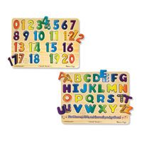 Melissa & Doug Sound Puzzles Set: Numbers and Alphabet - Wooden Peg Puzzles