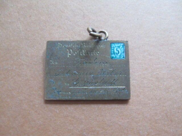 Miniatur Brief Anhänger Gravur zum 15 Geburtstag Email Briefmarke um 1905 22mm | eBay