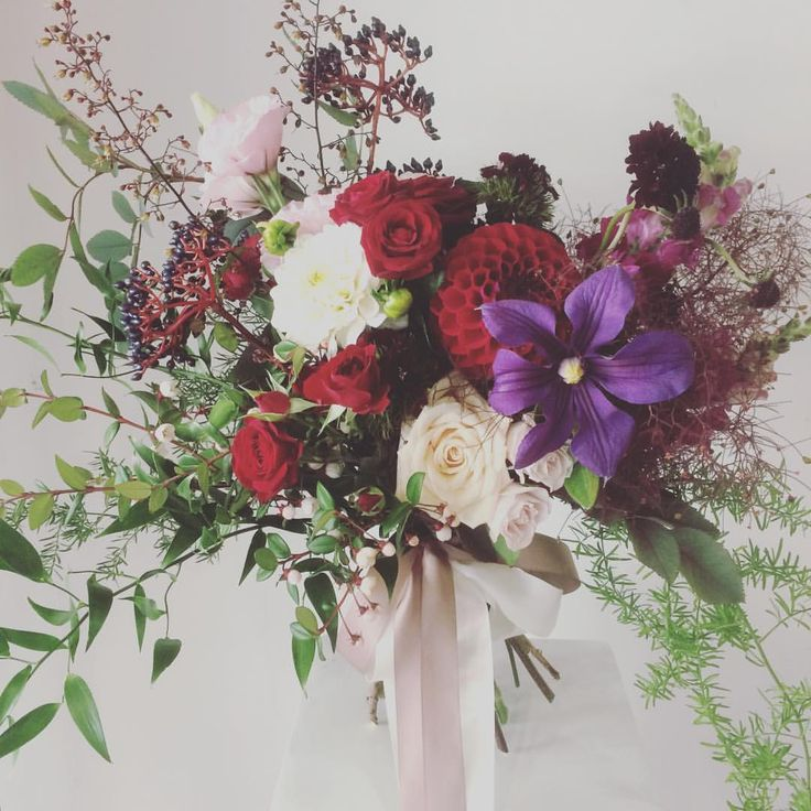 Megan's Bouquet | Estelle Flowers Weddings | Dahlia | Sahara Rose | Clematis | Lisianthis | Dunedin, NZ.