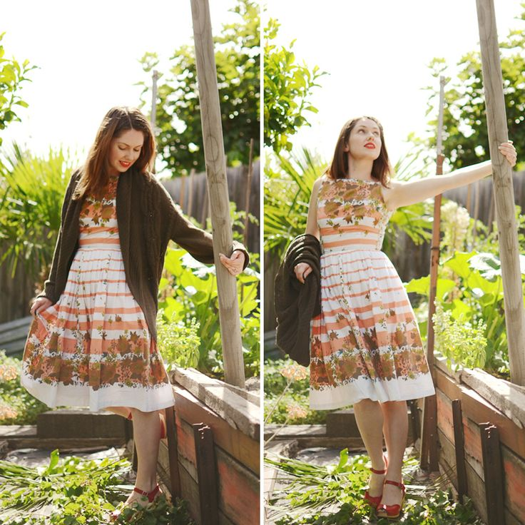 coral stripes dress and lips 4