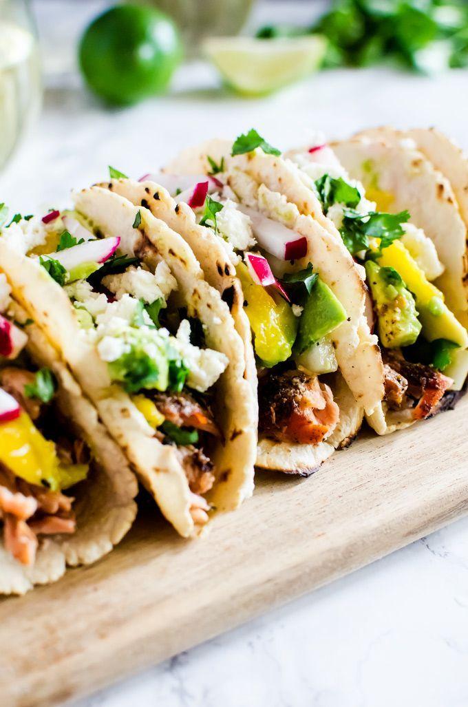 Salmon Tacos With Avocado And Mango Salsa