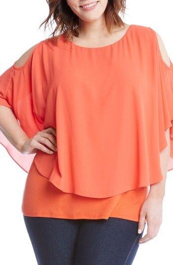Karen Kane Plus Size Women's Layered Cold Shoulder Top