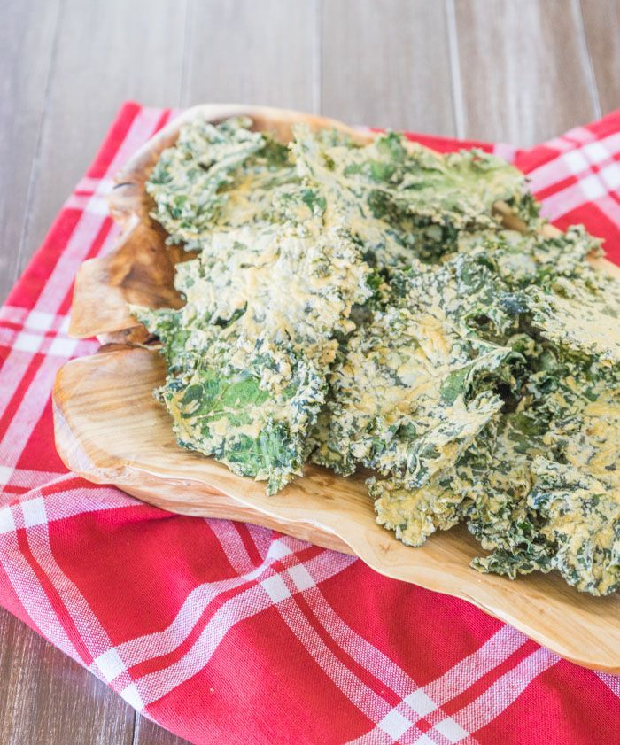 """Dangerously Cheesy"" Kale Chips (made with tahini, nutritional yeast, and lemon juice)"