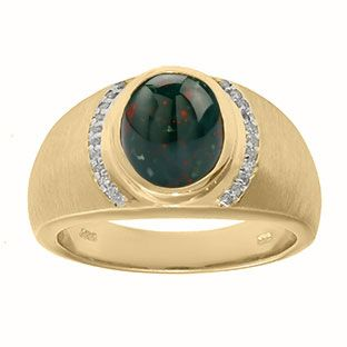 Men's Oval-Cut Bloodstone and Diamond Ring In Yellow Gold Gemologica.com offers a unique selection of jewelry for men. Our men's jewelry includes bracelets, earrings, rings, chains, pendants and necklaces, and accessories. We offer one of the largest and most discriming selections of mens gemstone and birthstone rings, crafted in silver and 10K, 14K and 18K yellow, white and rose gold. Our complete men's fashion jewelry collection can be seen here…