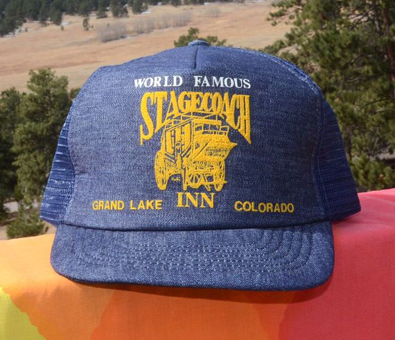 Denim (!) foam and mesh trucker hat with gold World Famous Stagecoach Inn  Grand Lake Colorado graphics Tag  Meitus Marketing b7511d0ff40a