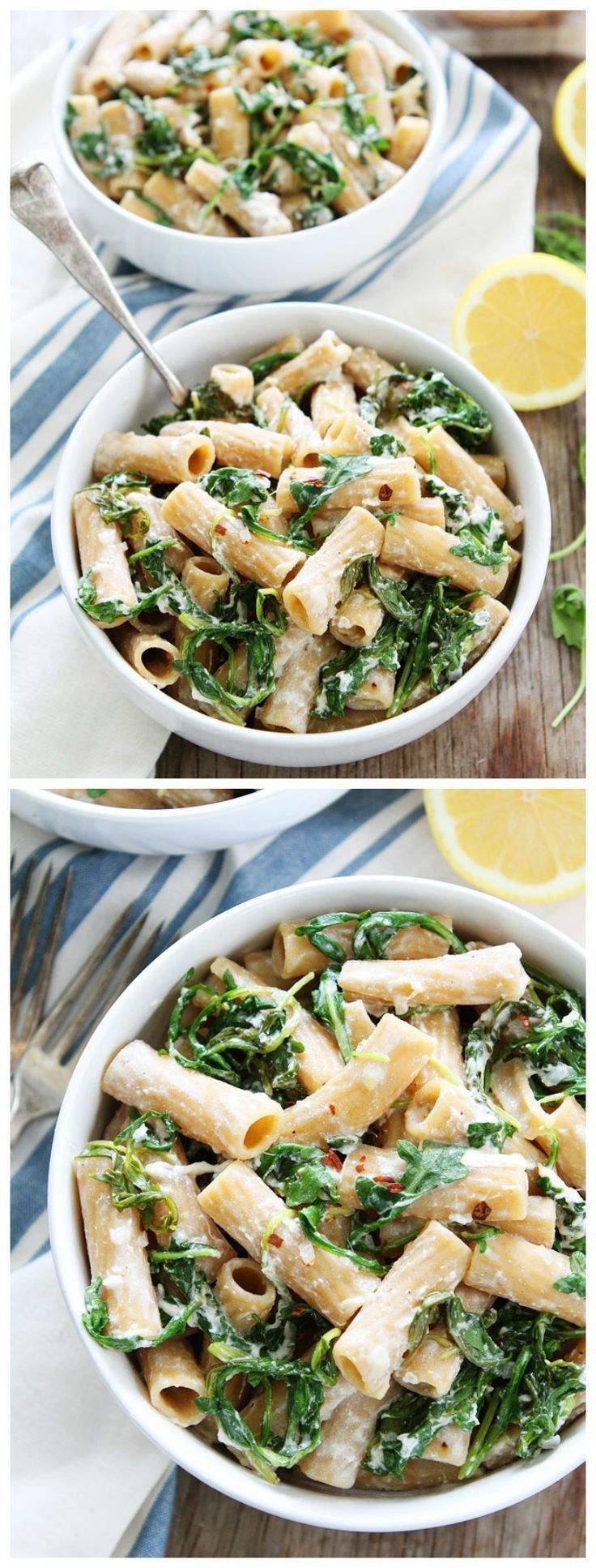 Lemon Arugula Pasta with Burrata Recipe on http://twopeasandtheirpod.com You only need seven ingredients and 30 minutes to make this creamy, cheese pasta dish! It is a dinner favorite!