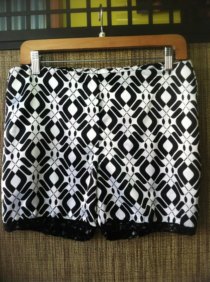 Britney - Satin intersecting graphic short, trimmed in lace. - Color Black/White - Size Small and Medium - Price $88.00 - Call Us: 646-284-5049