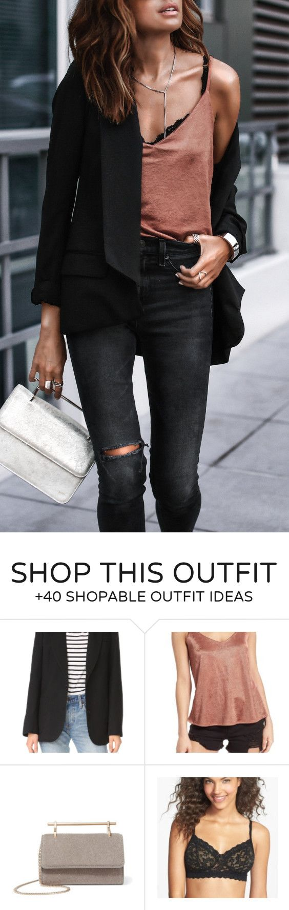 #summer #outfits Black Blazer + Beige Tank + Black Ripped Skinny Jeans