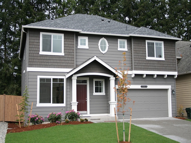 Best Grey On Grey With White Trim Maroon Door Exterior Home 400 x 300