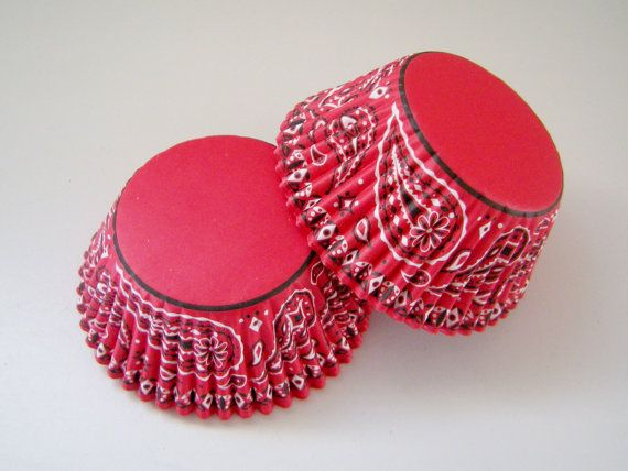 Red Bandana Cupcake Liners - Baking Cups   (50)  cowboy, western, cowgirl. $3.40, via Etsy.