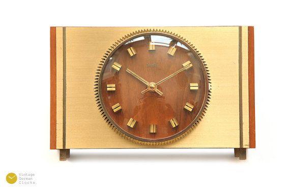 Mid century ZENTRA Germany Desk CLOCK - Modern Danish wood table brass Atomic Space Age mcm Mantel - 60s