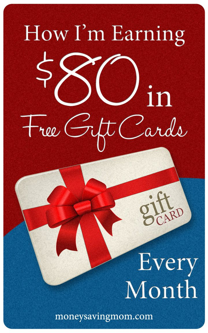 How I'm Earning $80 in Free Gift Cards Every Month -- four sites you can sign up with to earn #free gift cards. These really work!