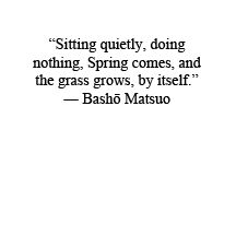 sitting quietly, doing nothing. spring comes, and the grass grows, by itself // basho matsuo