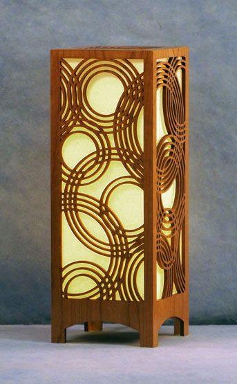Rain on water accent lamp 16 tall laser cut wood