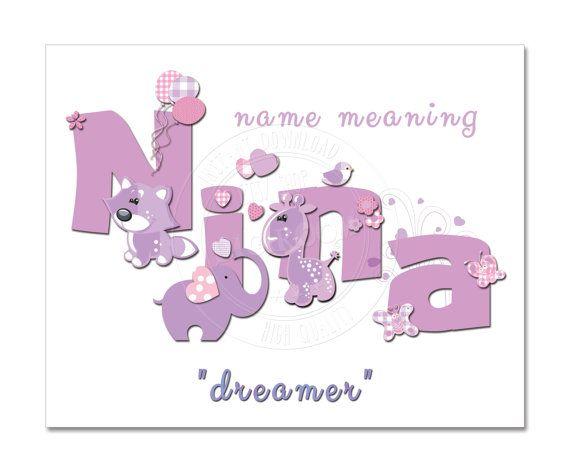 NINA name meaning Dreamer Nursery Art Kids Room Decor by DigiRoom