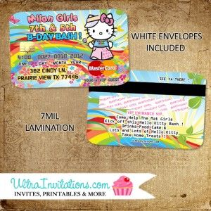 18 best hello kitty birthday invitations images on pinterest hello hello kitty credit card invitations birthday party invites personalized stopboris Image collections