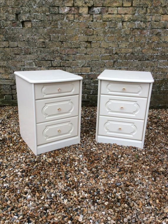 Pair of 1980s White bedside cabinets bedsides by kellymariavintage