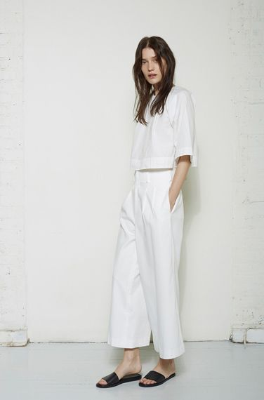 La Garconne Atelier No.I - Roberta Crop Top by Apiece Apart | Taiyana Wide Leg Pant by Apiece Apart | Slide Sandal by Woman by Common Projects
