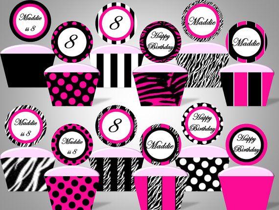 Zebra, Hot Pink and Black Cupcake Wrappers and Toppers - 12 Pattern Designs - Personalized With Name  Age - DIY Printable Party Decorations