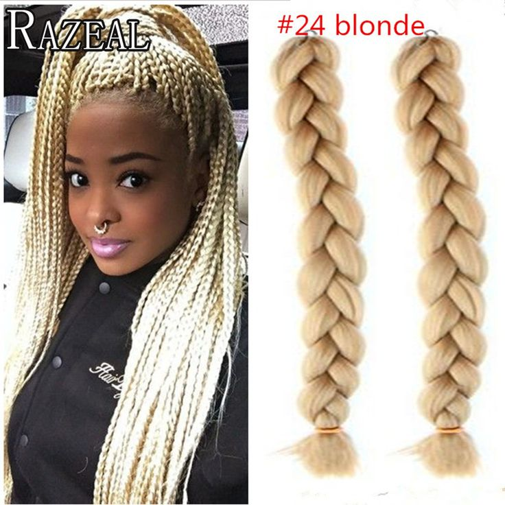 Zazeal Hair Synthetic Blond Kanekalon Braiding Hair 24'' 100g Xpression Jumbo Braid Bulk Box Braids African Crochet Braids