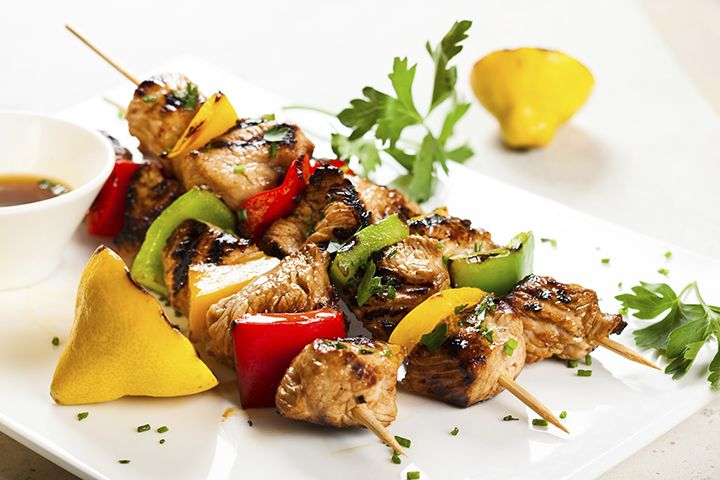 Hungry Girl's Day-Off Diet Chicken and Veggie Kebabs : This flavorful recipe will make sure you eat your daily dose of protein.