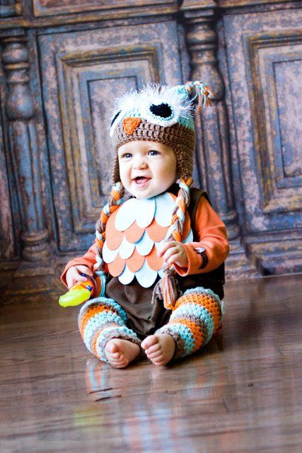"""How many """"AWHHHH""""'s can i get? So precious, little boy in his owl halloween costume! i love it, because Oct. 31st is always so stinkin cold, but this would be perfect to keep baby warm!"""