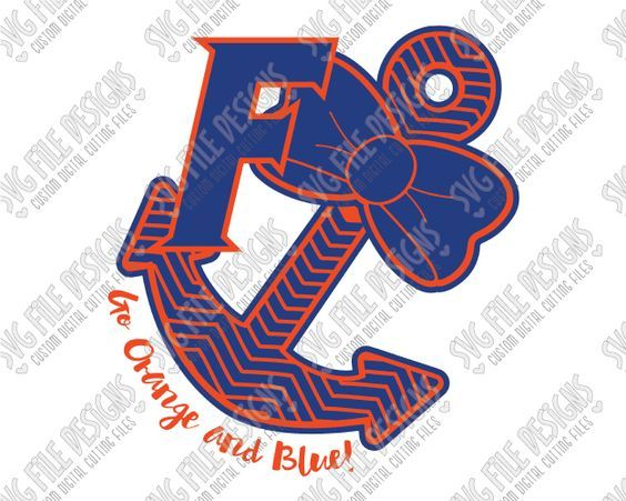 Go Orange and Blue University of Florida Gators Chevron Anchor Cut File Set in SVG, EPS, DXF, JPEG, and PNG