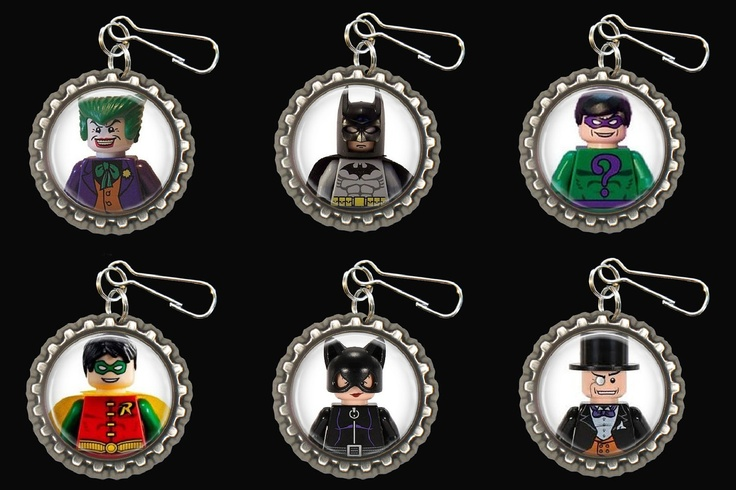 Bottle Cap Necklaces or Zipper Pulls - Birthday Party Favors - Pack of 6 - Lego Batman. $12.00, via Etsy.