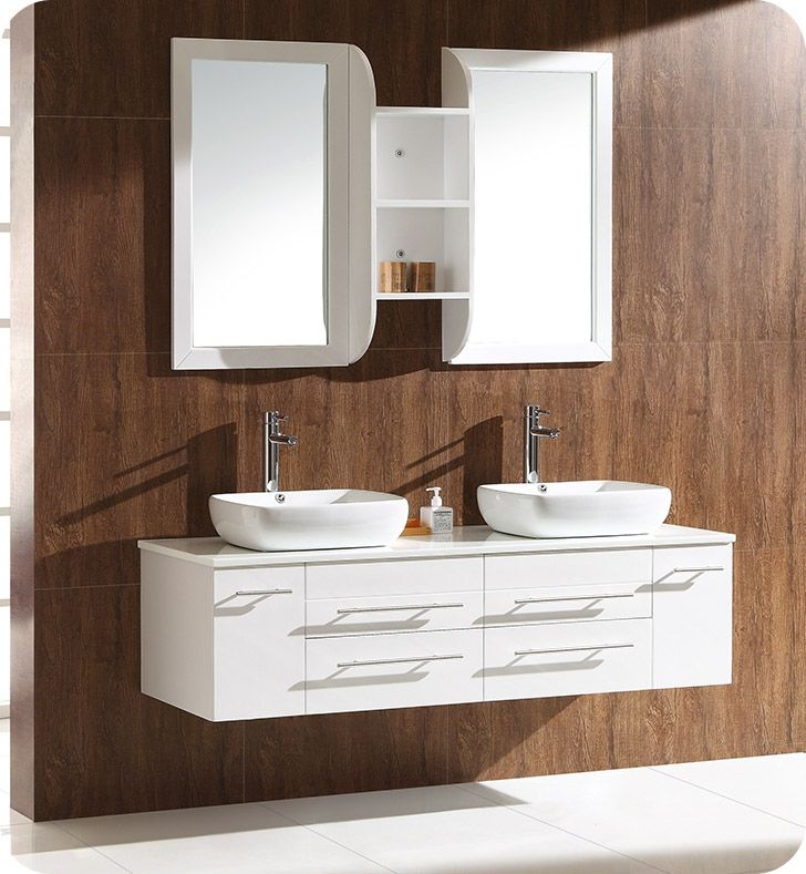 Gallery For Website Fresca FCBWH CWH V Bellezza White Modern Double Sink Cabinet with Top