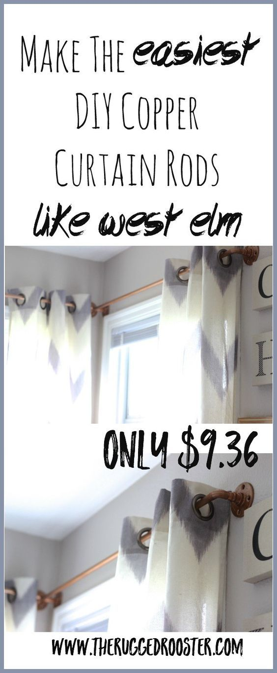 DIY Curtain Rod, West Elm Curtain Rod, Copper Curtain Rod, Easy DIY Curtain