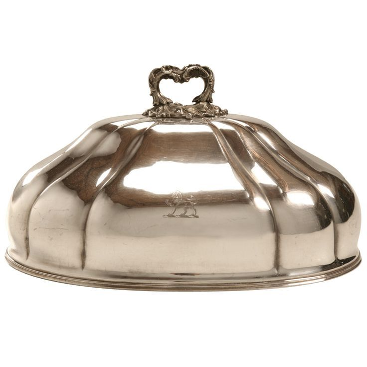 Antique English Silver Plated Meat Dome w/Engraved Lion Symbol | From a unique collection of antique and modern serving pieces at http://www.1stdibs.com/furniture/dining-entertaining/serving-pieces/