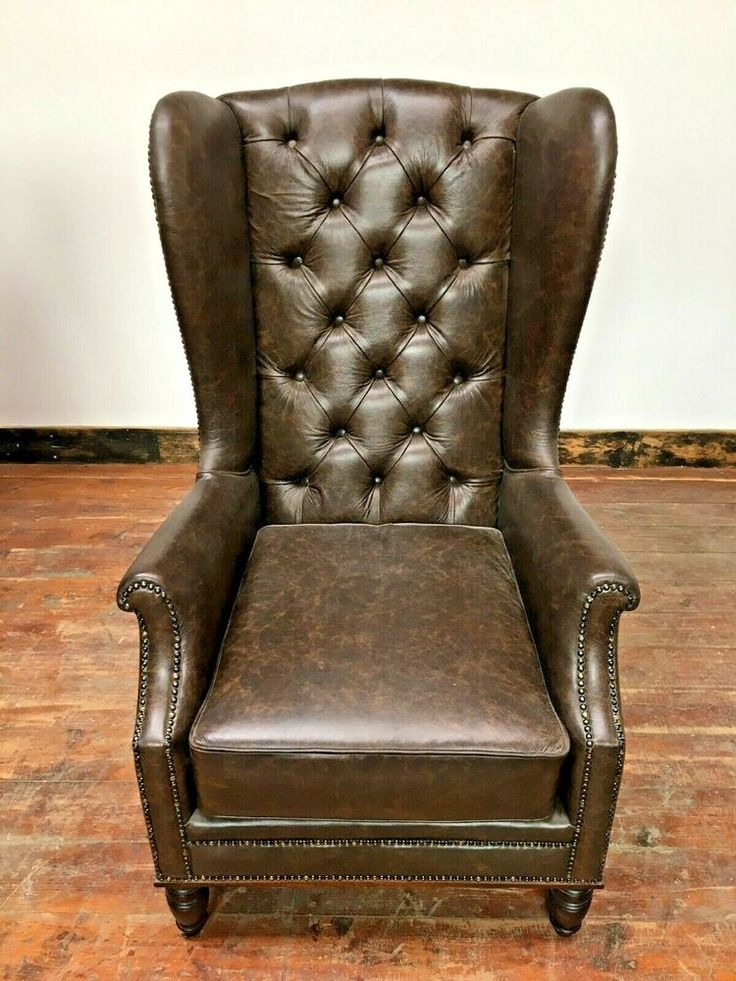 CHOCOLATE BROWN TALL BACK / WING ARMCHAIR / REAL LEATHER ...