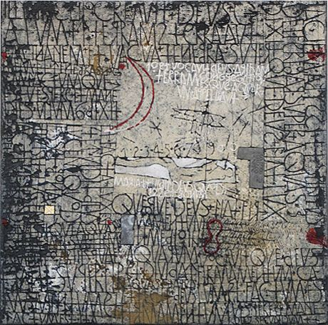 De Dageraad [Dawn] by Walter Rast, 2008. Mixed media on linen. 50cm H x 50cm W.