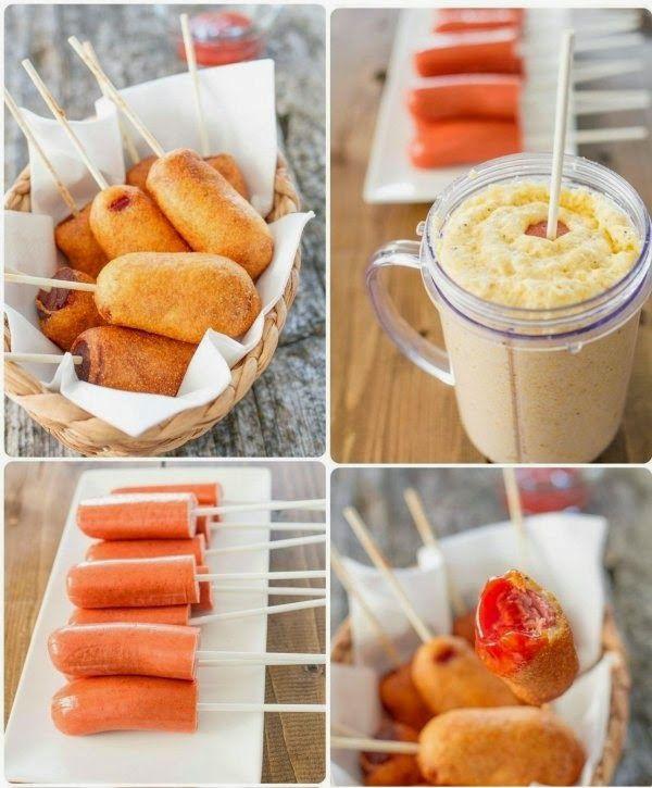 Salsicha Empanada no Palito (Corn Dogs) - Amando Cozinhar - Receitas, dicas de culinária, decoração e muito mais!