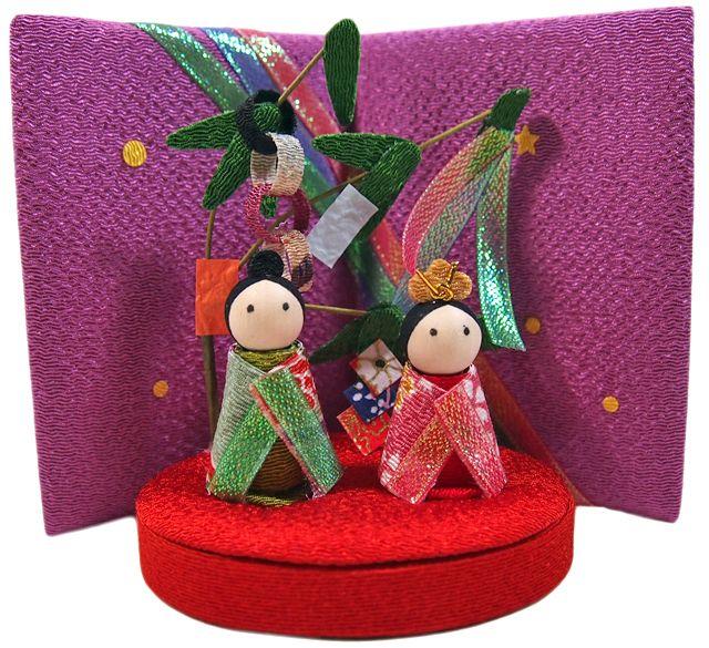 Star festival,Tanabata- Made from Chirimen,Japanese kimono fabric