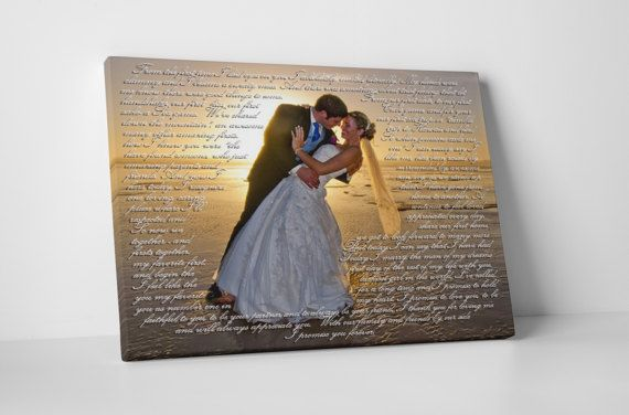 Personalized first anniversary gift for him with first dance lyric on canvas