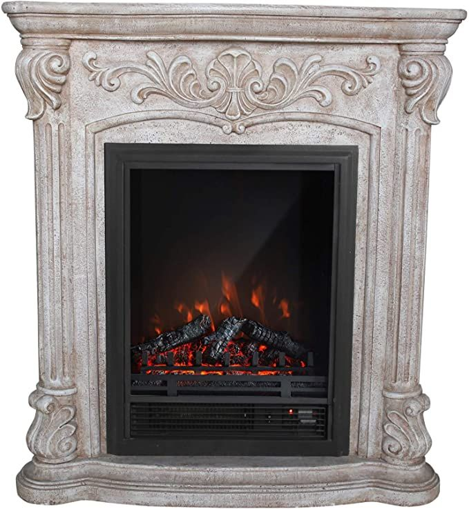 Winsome House Luxen Home Polystone Roma Free Standing Electric Fireplace Heate Free Standing Electric Fireplace Electric Fireplace Heater Fireplace