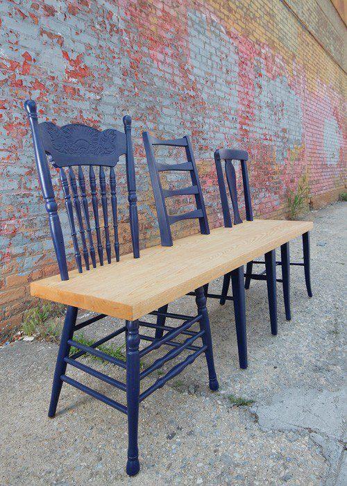 Si intelligent: Recycler vieilles chaises en banc.