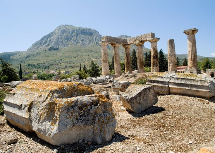 The seven remaining columns of Temple of Apollo at ancient Corinth.