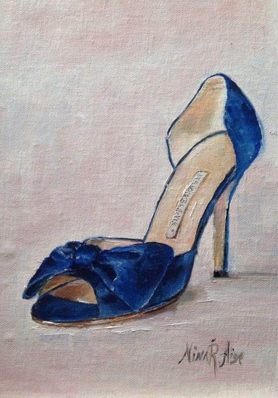 Blue Satin Clausado bow shoes Manolo Blahnik by NinaRAideStudio                                                       Blue Satin Clausado Bow shoes Manolo Blahnik. Original Oil painting by Nina R.Aide Studio. Linen 7x5  Available for sale on Etsy still life#fashion art#original painting#shoes