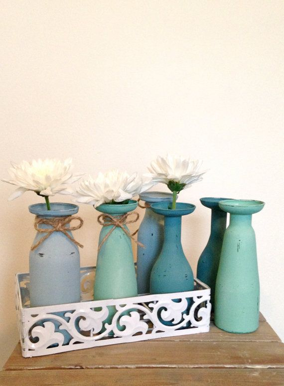 Set of 6 Milk Bottle Vases with White Metal Tray, Painted & Distressed Glass Bottles, Flower Vase, Rustic, Shabby Chic Homewares