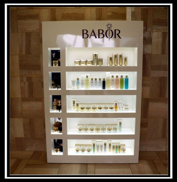 Designed and manufactured this cosmetic display for Babor spa products. All shelves are bottom lit through translucent acrylic.